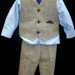 Brown Herringbone Waistcoat set with baby blue shirt and blue tie