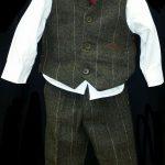 Striped waistcoat set with Burgundy tie