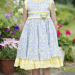 Yellow and sky blue dress