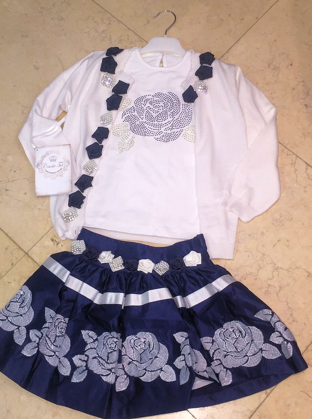 Couche Tot Flower Skirt Set Navy Pink Wonderland