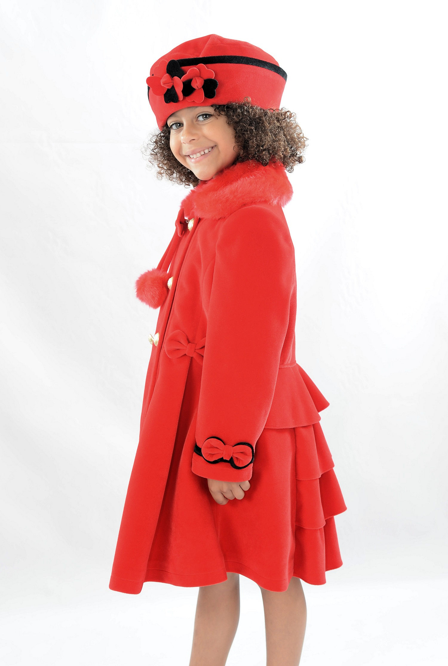 Girls Red Velveteen Coat And Hat Set By Couche Tot