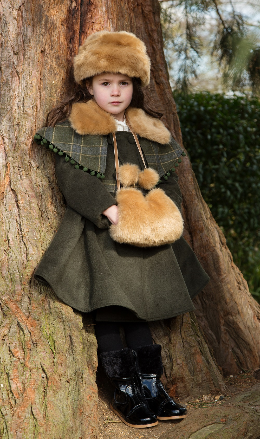 Girls Coat With Matching Hat And Muff By Couche Tot Olive