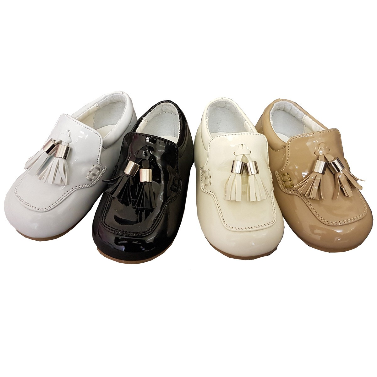 Baby boys Patent shoes with tassel by Sevva (Black/White ...